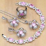 Flowers <b>Silver</b> 925 Jewelry Pink Cubic Zirconia Crystal Jewelry Sets For Women Earrings/Pendant/Rings/<b>Bracelet</b>/Necklace Set