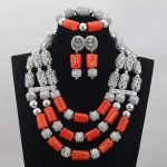 Shinny Sliver Grey African Necklace Bracelet Earrings Set <b>Handmade</b> Natural Coral Beaded Bridesmaid Costume <b>Jewelry</b> Set QW549
