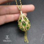 TBJ,Yellow gold color <b>silver</b> pendant gemstone <b>necklace</b> with natural chrome diopside in 925 sterling <b>silver</b> fine jewelry