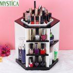 <b>Fashion</b> 360-degree Rotating Makeup Storage Box Brush Holder Desktop Skincare Organizer Case Rack <b>Jewelry</b> Cosmetic Storage Boxes