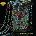 5Meter/Lot New Style! Colorful Wire Wrapped Beaded Chains Silver Plated Rosary Chain Faceted Beads <b>Jewelry</b> <b>Making</b> JD020