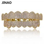 JINAO Gold <b>Silver</b> Color Iced Out Micro Pave Cubic Zircon Teeth Grillz Top Bottom Tooth Caps Hip Hop Bling New Grills