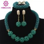 Glamorous Teal Green Wedding African Beads <b>Jewelry</b> Set Chunky <b>Necklace</b> Ball Chain Earrings Beads Set Free Shipping WD228