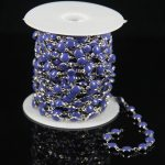 <b>Fashion</b> Rosary Dark Blue Lampwork Glass Flat Round Beads Chain,Plated Silver Wire Wrapped Link Coin Chains Craft Necklace Bulk