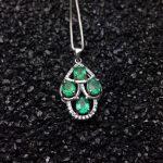 natural green emerald gem pendant S925 <b>silver</b> Natural gemstone Pendant Necklace trendy lovely geometry Leaf women fine <b>jewelry</b>