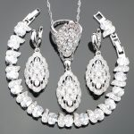 White Zircon Silver 925 Costume <b>Jewelry</b> Sets Women Bracelets <b>Necklace</b> Pendant Earrings Rings With Stones Set Jewellery Gift Box