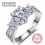 Fine <b>Jewelry</b> Ring <b>Silver</b> Real 925 <b>Sterling</b> <b>Silver</b> Wedding Rings Set 1 Carat SONA CZ Diamant Engagement Rings For Women AR036
