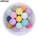 Choose Colors 20MM 100Pcs/Lot Fashion <b>Jewelry</b> Chunky Resin Rhinestone Beads Chunky Beads Accessories For Necklace <b>Making</b>