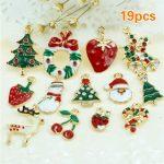 19PCS/LOT Mixed Christmas Hanging Ornaments Set DIY <b>Jewellery</b> Pendants Xmas Christmas Tree <b>Decoration</b> Festival Holiday Decor