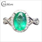 Elegant real emerald <b>ring</b> for woman 2ct 7 mm*9 mm oval cut natural emerald engagement <b>ring</b> solid 925 <b>silver</b> emerald fine jewelry