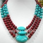 Fashion 3 rows beautiful red artificial coral calaite stone round beads chains necklace <b>jewelry</b> <b>making</b> 17-19inch MY4780