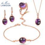 LAMOON Real 925-<b>Sterling</b>–<b>Silver</b> Purple Amethyst Natural Gemstone 4PCS <b>Jewelry</b> Sets Fine <b>Jewelry</b> for Women Wedding Gift V031-1