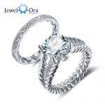 Luxury <b>Wedding</b> <b>Jewelry</b> 10mm 3.5 CT Hearts And Arrows Round Cubic Zirconia 925 Sterling Silver Ring Sets (JewelOra RI102342)