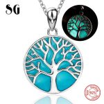 2018 sterling silver 925 tree of life chain pendant&necklace with glowing enamel diy fashion <b>jewelry</b> <b>making</b> for women gifts