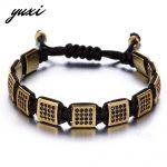 YUXI Handmade Square Rivet With Crystal Stone Braiding Bracelet Men <b>Jewelry</b> Hand Chain Male <b>Accessories</b> Pulseira Masculina