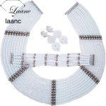 <b>Handmade</b> New White Transparent Crystal Beaded Costume Nigerian African Wedding Beads <b>Jewelry</b> Necklaces Set CHK004