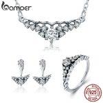 BAMOER 100% 925 Sterling <b>Silver</b> Fairytale Tiara Princess Crown Earrings <b>Necklace</b> Jewelry Set Sterling <b>Silver</b> Jewelry Gift ZHS051