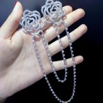 double flowers with chain brooch 925 sterling <b>silver</b> with cubic zircon camellia or rose flower brooch fashion women <b>jewelry</b>