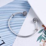 100% 925 Sterling <b>Silver</b> Classic Engraved Logo Letter Charms Open Bangle CZ <b>Bracelet</b> Fit European Original Beads Jewelry
