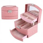 <b>Jewelry</b> Necklace Ring Storage Box PU Leather mirror Case Lady Gift Home <b>Supplies</b> 3 Layers