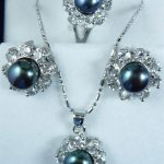 Women's Wedding wholesale simple dark blue shell pearl silver plated pendant earring and ring(#7.8.9) <b>jewelry</b> set 0