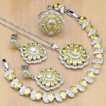 925 <b>Silver</b> Bridal Jewelry Sets Yellow Cubic Zirconia Decoration For Women Earrings Rings <b>Bracelet</b> Pendant Necklace Set