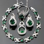 Nickle Free Silver 925 Green CZ White Stones Wedding <b>Jewelry</b> Sets Bracelets/Earrings/Pendant/<b>Necklace</b>/Rings For Women