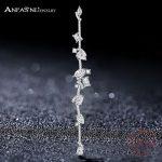 ANFASNI High Quality 925 Sterling Silver <b>Jewelry</b> Cubic Zirconia Geometric Long Earrings for Women's <b>Wedding</b> Gift CGSER0118-B