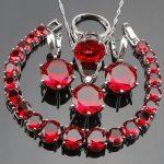 Wedding Silver 925 Bridal <b>Jewelry</b> Sets Women Jewellery With Red Zirconia Bracelets Pendant Necklace Rings Earrings Set Gift Box