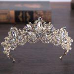 Trendy Baroque Style Gold Crystal Crown Headdress for Women Wedding Hair Accessories hairwear Bride <b>Jewelry</b>