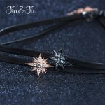 Jin&Ju Jewelry 925 Sterling <b>Silver</b> Women 30CM+5CM Jewelry Star Design Two Color Leather Chokers <b>Necklaces</b> For Girl Gifts