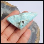 New Design Natural Drusy Larimar Triangle Shape Side Drilled <b>Necklace</b> Pendant 57x29x15mm 23.78g