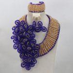 Royal Blue Flower Crystal Unique Design <b>Handmade</b> Beads <b>Jewelry</b> Set African Champagne Wedding Bridal <b>Jewelry</b> Free ShippingABL953