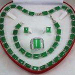 real silver-<b>jewelry</b> Women's Wedding Beautiful green gem necklace bracelet earring ring Jewellery set size 9-11#