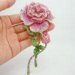 3 Color Free shipping <b>Fashion</b> <b>Jewelry</b> Beautiful Rose Bud Pink Rhinestone Crystal Brooch Pin For Woman 4752