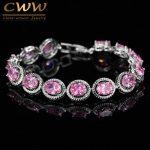 CWWZircons Brand New Trendy Design 0.8ct Round Cut Pink Cubic Zirconia Bracelet For Women Birthday Gift <b>Jewelry</b> CB178