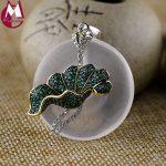 Necklace Pendant For Women 33mm Round White Natural Crystal Green Stone Big Lotus Leaf Elegant Plant <b>Sterling</b> <b>Silver</b> 925 <b>Jewelry</b>