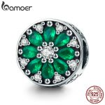 BAMOER 100% 925 Sterling Silver Summer Collection Luminous Green Crystal CZ Round Beads fit Bracelet & Necklaces <b>Jewelry</b> SCC629