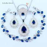 L&B 925 Sterling <b>Silver</b> Women 4PCS Jewelry Sets Blue Crystal White Zircon Earrings Rings Necklace Pendant <b>Bracelet</b>
