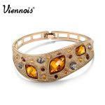 Viennois Vintage Bangles For Woman <b>Fashion</b> <b>Jewelry</b> Coffee Gold Color Alloy with Top Austrian Rhinestone Orange Crystal