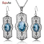 Szjinao Bohemia Design Oval Blue Rhinestone Crystal Vintage 925 Sterling <b>Silver</b> Jewelry Sets Party Dress Women Handmade Gift