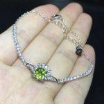 Fashion elegance Diana round natural green peridot Bracelet Natural olivine bracelet S925 <b>silver</b> woman party gift fine <b>jewelry</b>