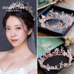 HIMSTORY Vintage Princess Flower Branch Crystal tiara Pink Rhinestone Bridal Hair <b>Jewelry</b> <b>Wedding</b> Queen Pageant Tiaras