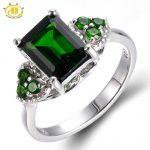 Hutang Emerald Cut Natural Chrome Diopside Wedding Ring Solid 925 <b>Sterling</b> <b>Silver</b> Women's Green Gemstone Fine <b>Jewelry</b> 2017