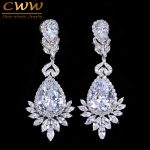 CWWZircons Elegent Evening Dinner Part Wedding <b>Jewelry</b> Luxury Long CZ Crystal Big Drop Dangle Earrings For Brides CZ055
