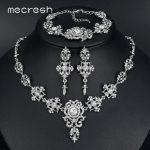 Mecresh Elegant Bridal <b>Jewelry</b> Sets Clear Floral Crystal Necklace Earrings Bracelets Sets Wedding <b>Jewelry</b> for Women TL432+SL031