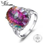 Huge 13ct Natural Rainbow Fire Mystic Topaz Engagement Ring Genuine Solid 925 Sterling <b>Silver</b> Vintage Fashion <b>Jewelry</b> For Women