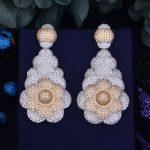 GODKI 64mm Luxury Trendy Cotton Candy Flower Full Mirco Paved Zirconium Naija <b>Wedding</b> Party Earring Fashion <b>Jewelry</b> for Women