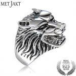 MetJakt Punk Rock Ferocious Wolf Head Ring Solid 925 <b>Sterling</b> <b>Silver</b> Rings for Cool Men Vintage Thai <b>Silver</b> <b>Jewelry</b>