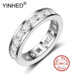 YINHED New Simple Full Circle Square Cubic Zircon Ring Fashion Female <b>Jewelry</b> 925 <b>Sterling</b> <b>Silver</b> Women Rings for Party DR288
